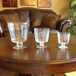 3 glass pedestals bowls brand new never used