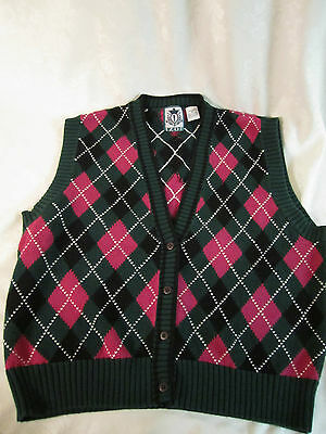 (Izod Argyle Sweater Vest Dark Pink Rose & Green Size M GUC)