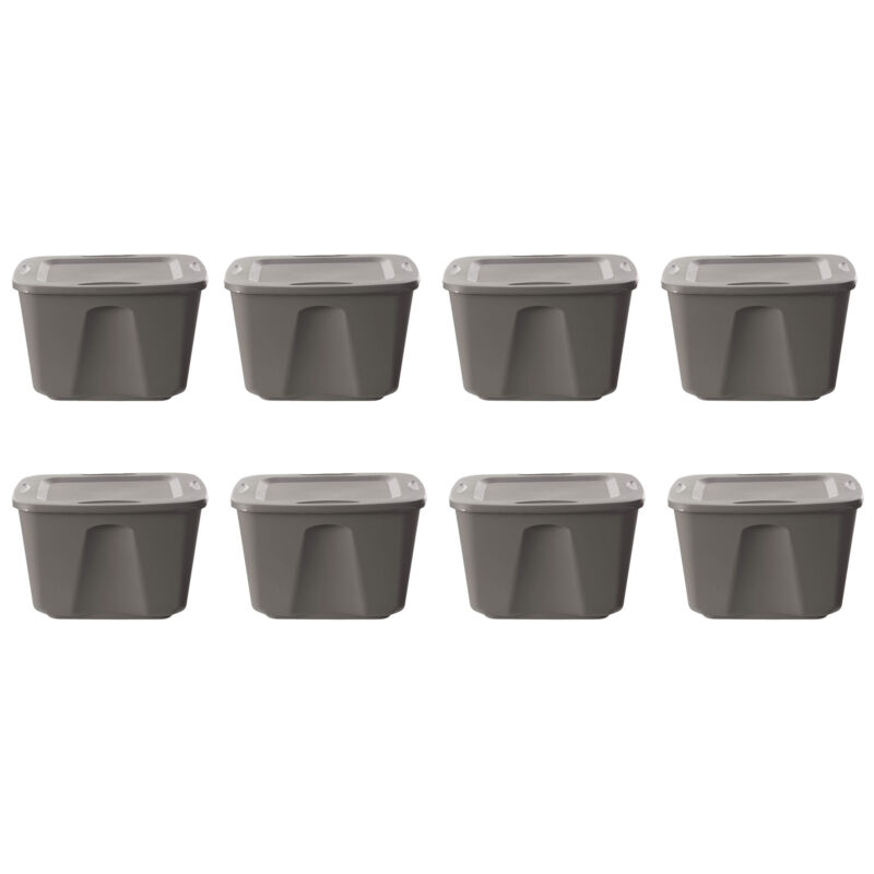 Homz 18-Gallon Stackable Plastic Storage Tote Container with Snap-On Lid, 8 Pack