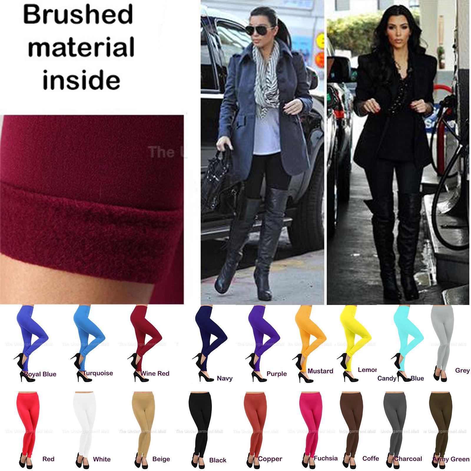 Leggings - Womens Fleece Lined Leggings Thick Warm Winter Stretch Pants New Size XS-XXXL