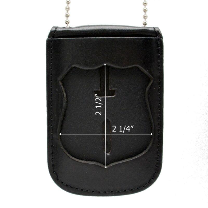 Cobra Tufskin Neck Chain Badge ID Holder Fits NYPD Officer Badges Black Leather