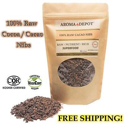 Raw Cacao / Cocoa Nibs Pure Kosher Raw Chocolate Arriba Nacional Bean 8oz Pouch Raw Cacao Nibs