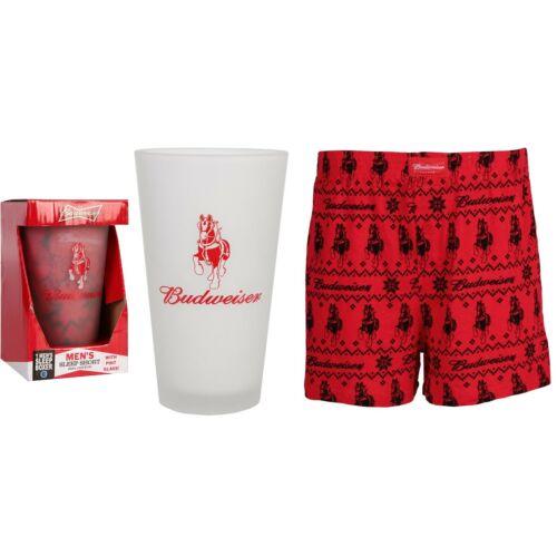 Budweiser Pint Glass + Sleep Short Gift Set - Adult Medium