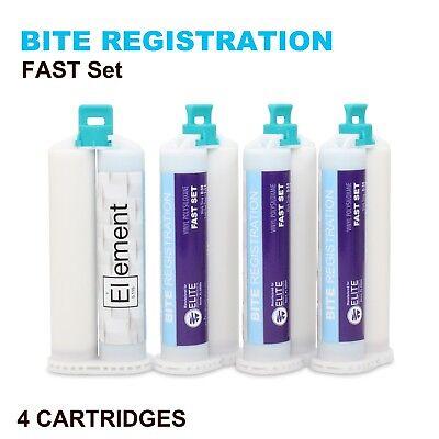 Element Bite Registration Material Fast Set 4 X 50ml Cartridges Dental Vps Pvs