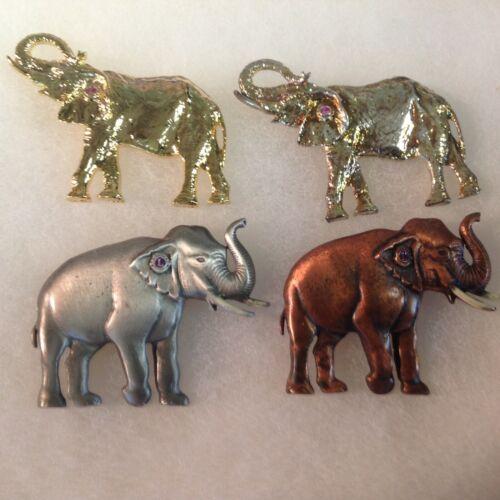 Lions Club Pins: 4 3-D Elephant Pins cm
