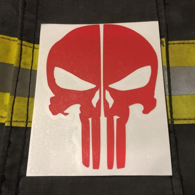 PUNISHER SKULL REFLECTIVE FIRE HELMET DECALS FIRE HELMET STICKER - RED