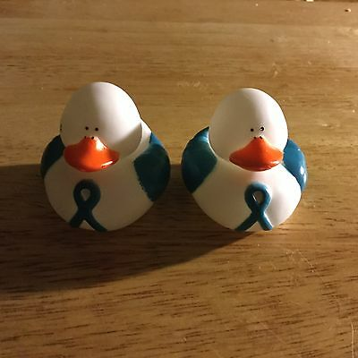 2  Ovarian Cervical Cancer Awareness Rubber Ducks    Free Shipping