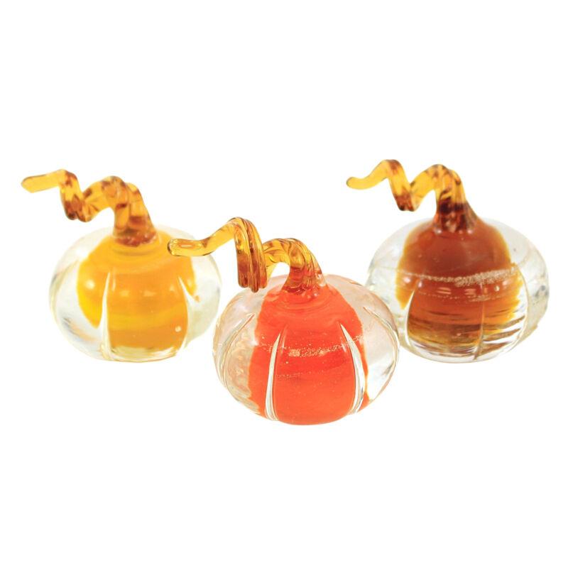 Fall Mini Glass Amber Pumpkins Glass Thanksgiving Set Of Three J5587