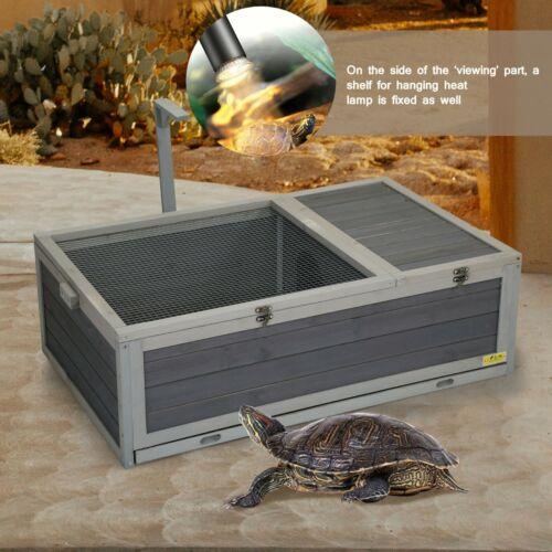 Large Wooden Tortoise House Turtle Habitat Reptile Waterproof Enclosure Box New