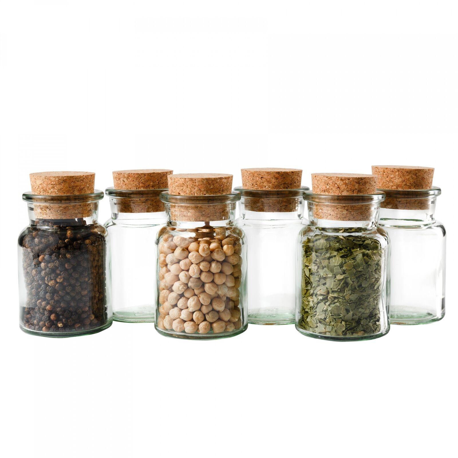 6 Gewürzgläser 150ml + Korken, Tee Kräuter Gewürze Gewürzdose Korkenglas Glas
