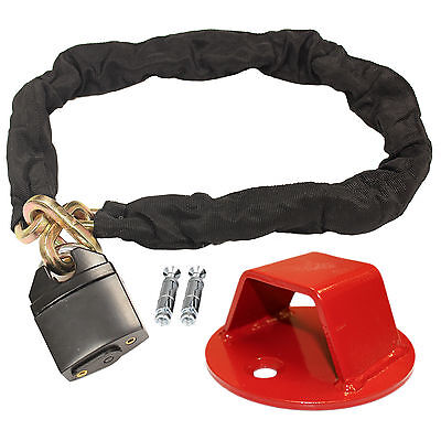 RYDE 1M HEAVY DUTY MOTORCYCLE PADLOCK CHAIN & WALL/GROUND ANCHOR LOCK SECURITY