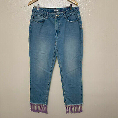 Ashley Williams Women's Jeans Bottom Fray Beaded Trim Stone Wash 32 Blue Crop