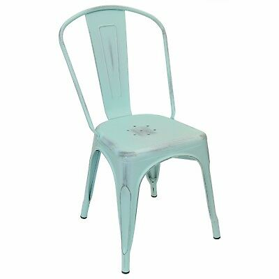 New Viktor Steel Restaurant Chair With Distressed Sky Blue Finish