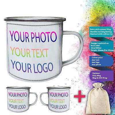Customized Personalised Custom Printed Any Text Picture Tin, Enamel 10oz Mug - Custom Tin Mugs