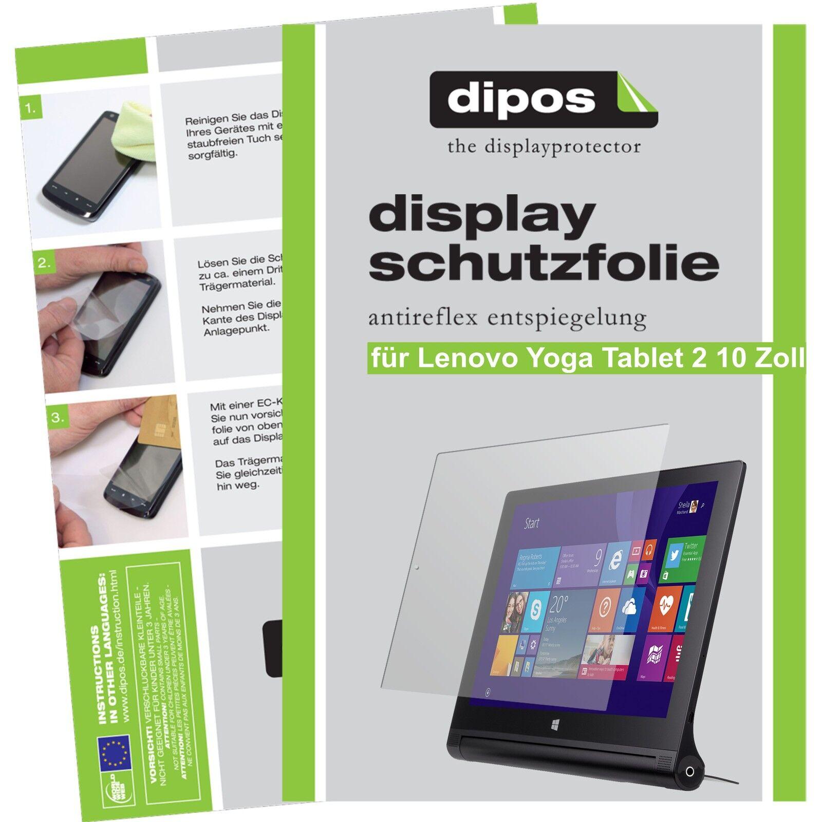 2x dipos Lenovo Yoga Tablet 2 10.1 matt Displayschutzfolie Antireflex Testsieger