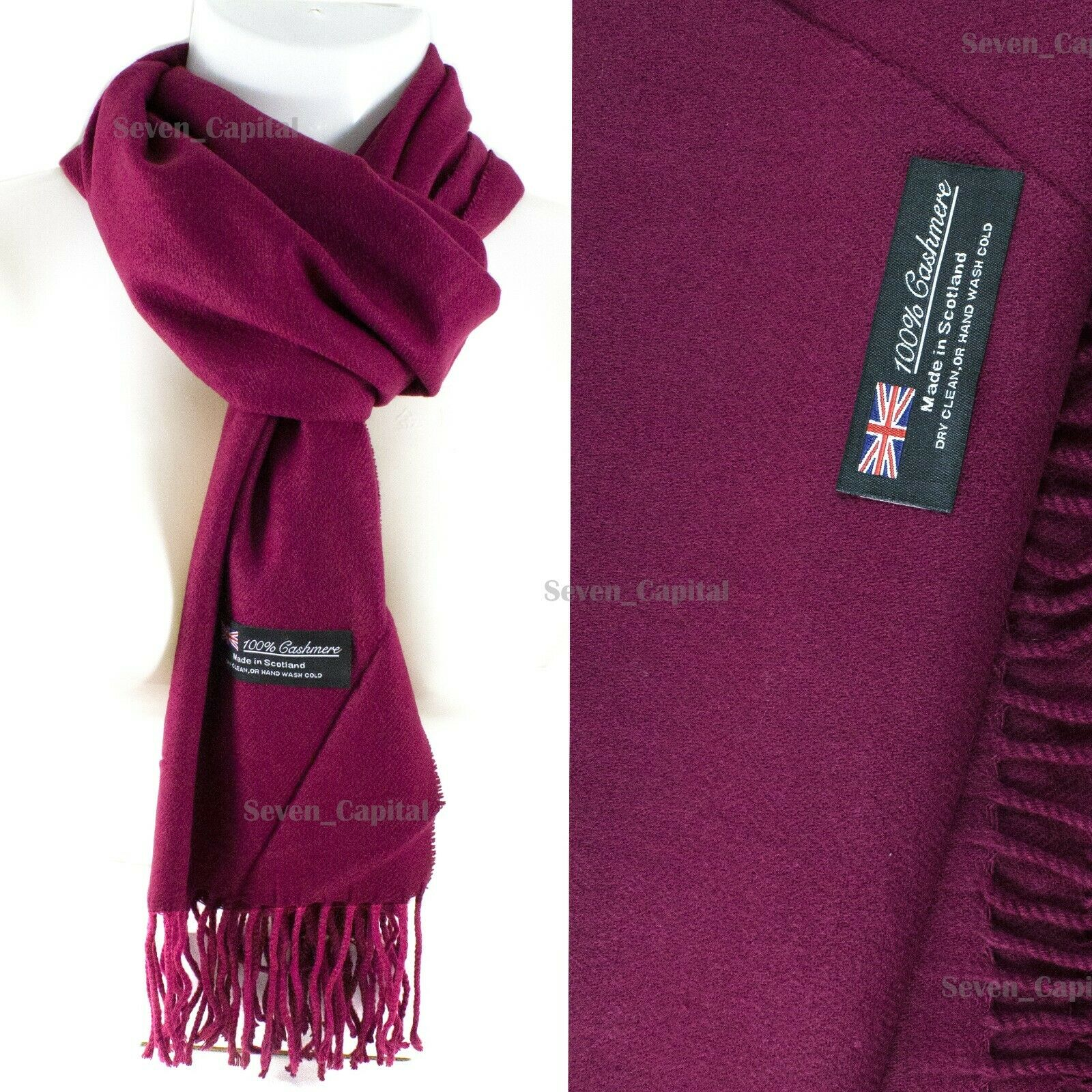 Mens Womens Winter Warm SCOTLAND Made 100% CASHMERE Scarf Scarves Plaid Wool 44. Plain: Wine Red