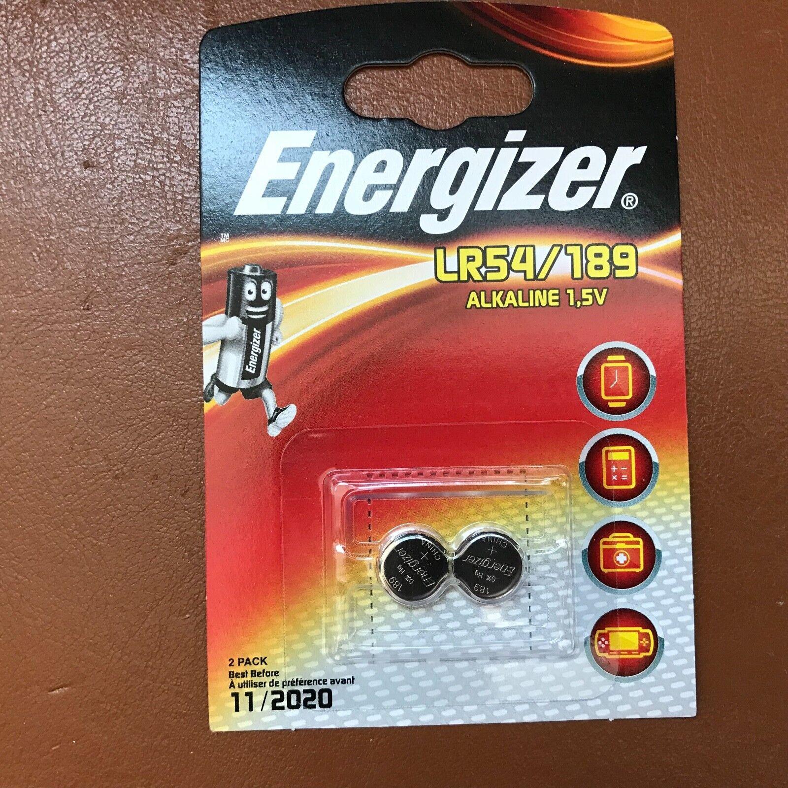 2 x Energizer LR54 1.5V Alkaline Battery 189, AG10, V10GA, LR1130, D189A, 389