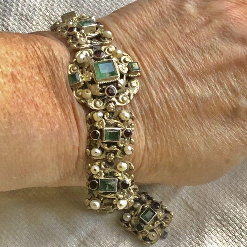 Antique Austro Hungarian Victorian Sterling Silver Emerald Garnet Pearl Bracelet