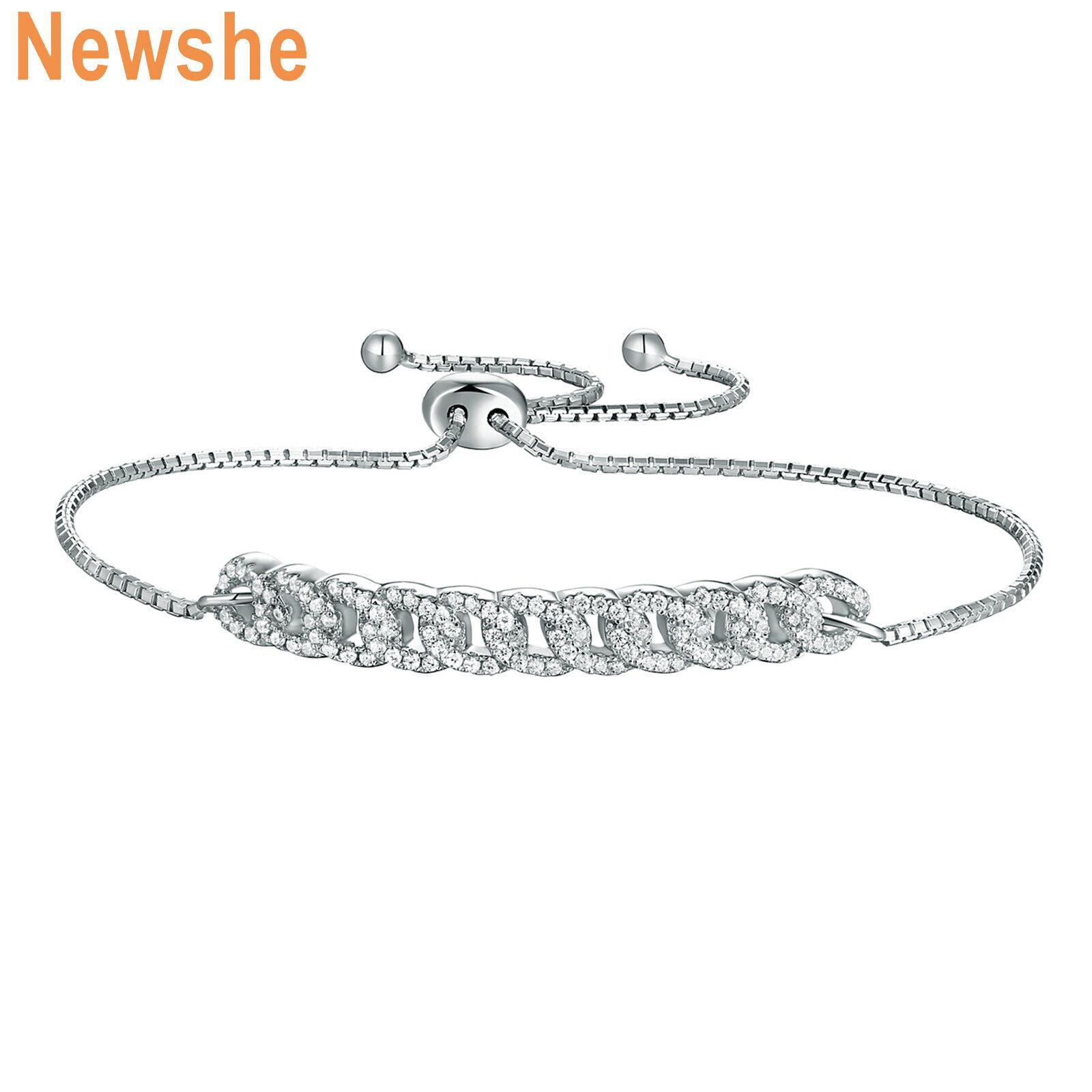 Newshe Adjustable Chain Bracelet For Women 925 Sterling Silver Round White Cz