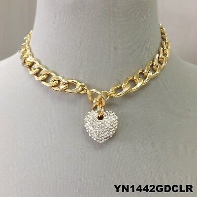 Gold Clear Rhinestone Necklace - Clear Rhinestone Heart Pendant Gold Cuban Chain Choker Style Toggle Necklace