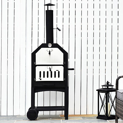 Outsunny Outdoor Pizza Oven Charcoal BBQ Grill  2-Tier Freestanding w/ Chimney
