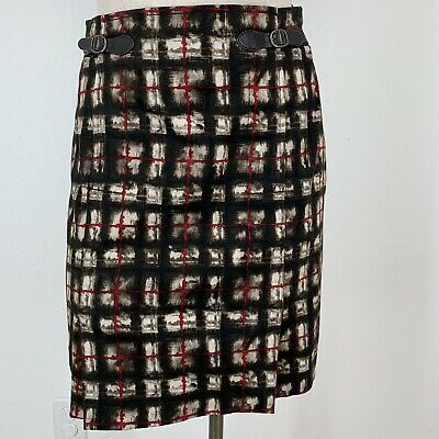 Etcetera Skirt size 0 brown pattern equestrian style leather Buckle Cotton