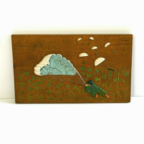 WWII Trench Art Paratrooper Plaque Hand Carved Painted Wood Japan