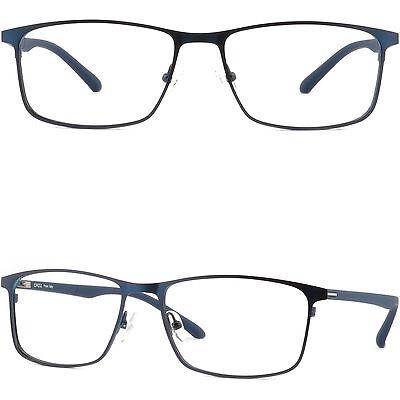 Wide Light Mens Titanium Frames Prescription Glasses Lenses Sunglasses Navy (Wide Prescription Glasses)