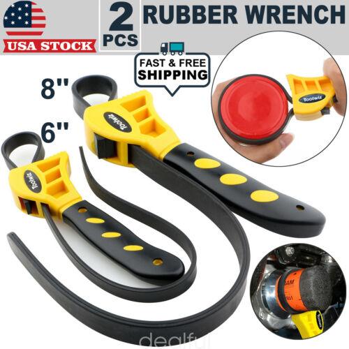 2 Pc Adjustable Rubber Strap Wrench Set 500&600mm Oil Filter