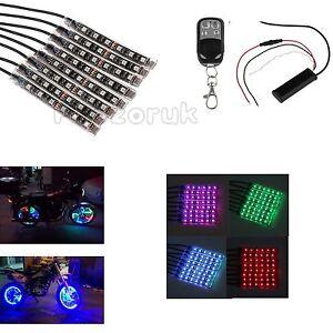 12V Kit 8 LED RGB  Streifen Strip Lichterkette für AUTO Motorrad Beleuchtung