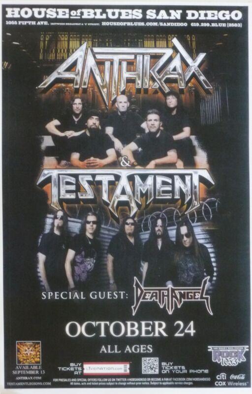 ANTHRAX / TESTAMENT 2012 SAN DIEGO CONCERT TOUR POSTER - Heavy Metal Music