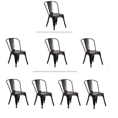 Tolix Antique Black Gold Metal Dining Chair Commercial Quality 1-4 Unit Discount ()