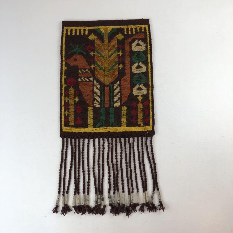 Vtg Polish Cepelia Woven Wool Handmade Wall Hanging Tapestry Colorful Bird