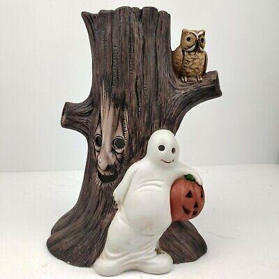 Vintage 1985 Halloween Ceramic Ghost tree pumpkin RARE WNS Candle Light Decor