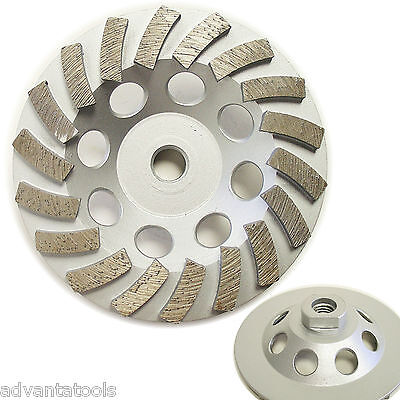 5 Spiral Turbo Diamond Cup Wheel For Concrete Grinding 18 Segs 58-11 Arbor