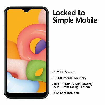 Android Phone - Simple Mobile Samsung Galaxy A01 4G LTE Prepaid Cell Phone