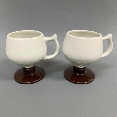 Vintage Hall Footed Cups Mugs Mid-Century Modern Brown 2274 Lot of 2