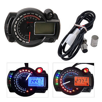 NEW 15000rpm Motorcycle Universal LCD Digital Speedometer Tachometer Odometer US