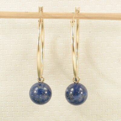 14k Yellow Gold 25 X 1.25mm Hoop 8-8.5mm Blue Lapis Lazuli Dangle Earrings TPJ ()