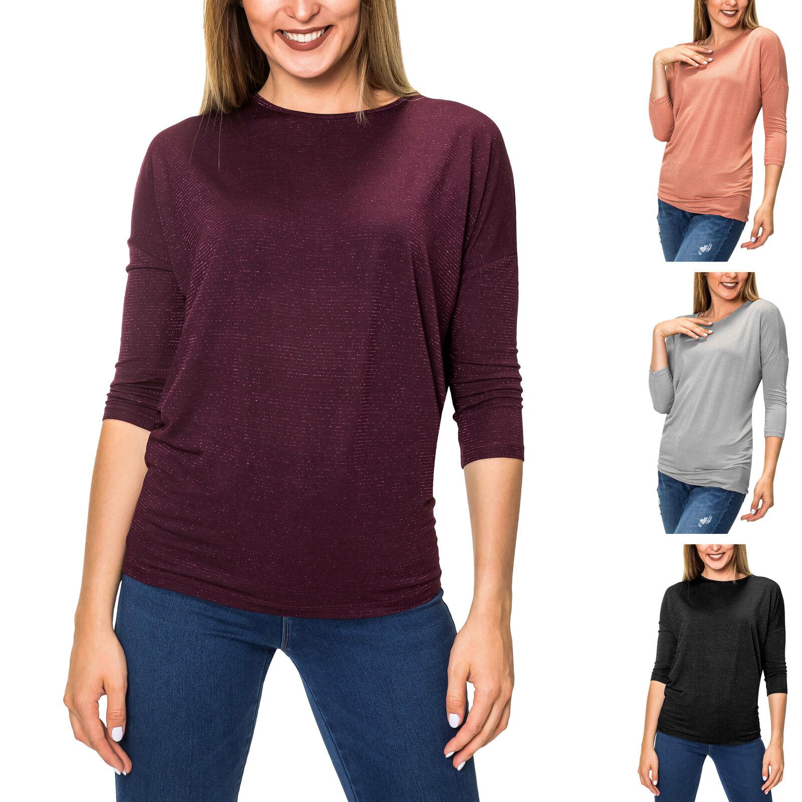 Pieces Damen Langarmshirt Shirt O-Neck mit Lockerem Passform Gestreift Glitzer