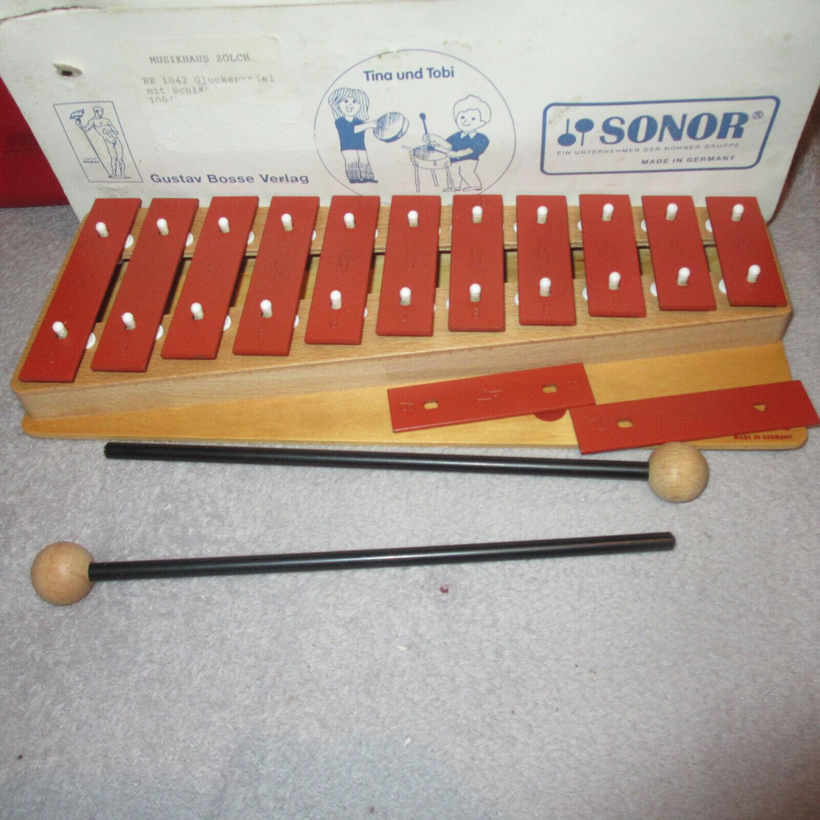 Sonor Xylophon Glockenspiel BE 1042 Germany 2 extra Klangplatten 2 Schlägel