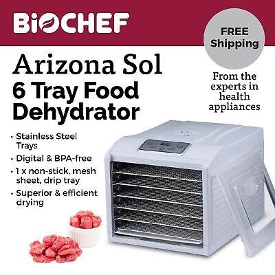 Best Food Dehydrator BioChef Arizona Sol 6 Trays Beef Jerky, Dried Fruit -