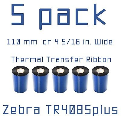 5 Pack Tr4085plus Thermal Transfer Ribbon 17152479 Size 110 Mm X 450 Meters