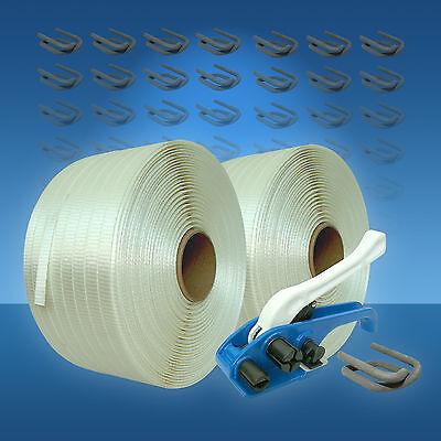 25 mm Umreifungsset gewebt, Holzbündelgerät 2 Rollen 500 m Band 250 Drahtklemmen