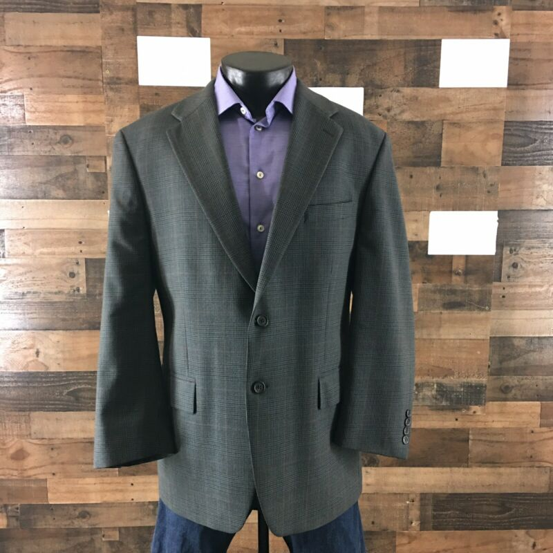 Chaps Ralph Lauren Suit Jacket Blazer Sport Coat Plaid Wool Classic Fit Mens 44R