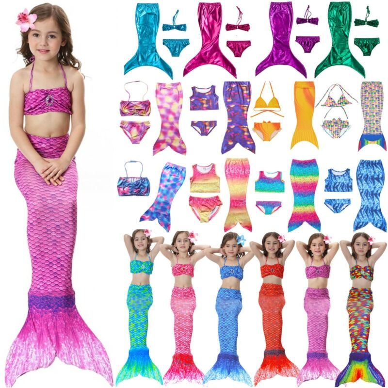 Kinder Mädchen Bademode Badeanzug Bikini Set Schwanzflosse Meerjungfrau Kostüm