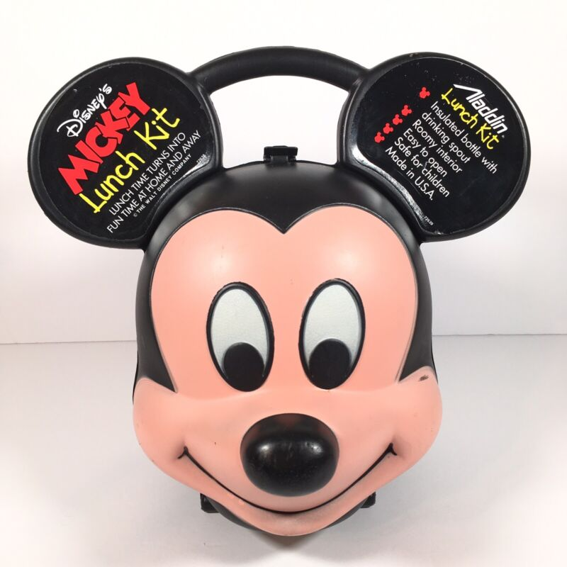 Vintage Disney Mickey Mouse Head Lunch Box Kit Aladdin Made in USA (No Thermos)