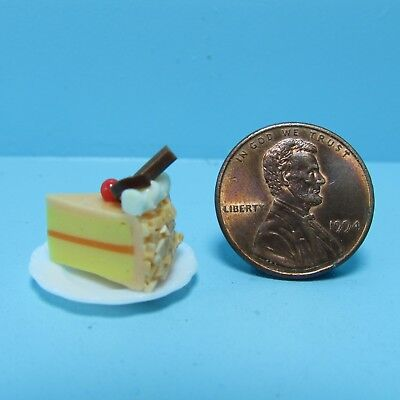 Dollhouse Miniature Slice of Cake Orange Frosting with Chocolate on Top