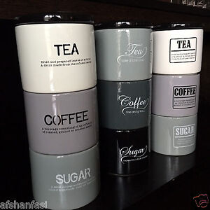 Retro Ceramic Stacking Stackable Tea Coffee Sugar Kitchen Storage Canister Jars Ebay