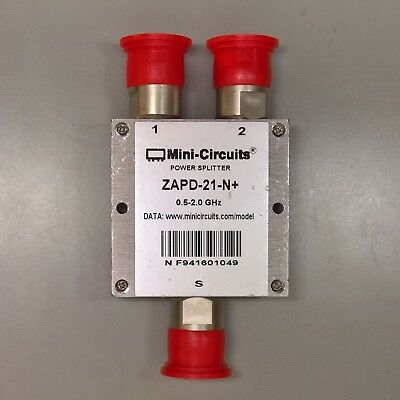 Mini-Circuits DC Coaxial Power Splitter Combiner ZAPD-21-N+ .5-2.0 GHz RF Type N